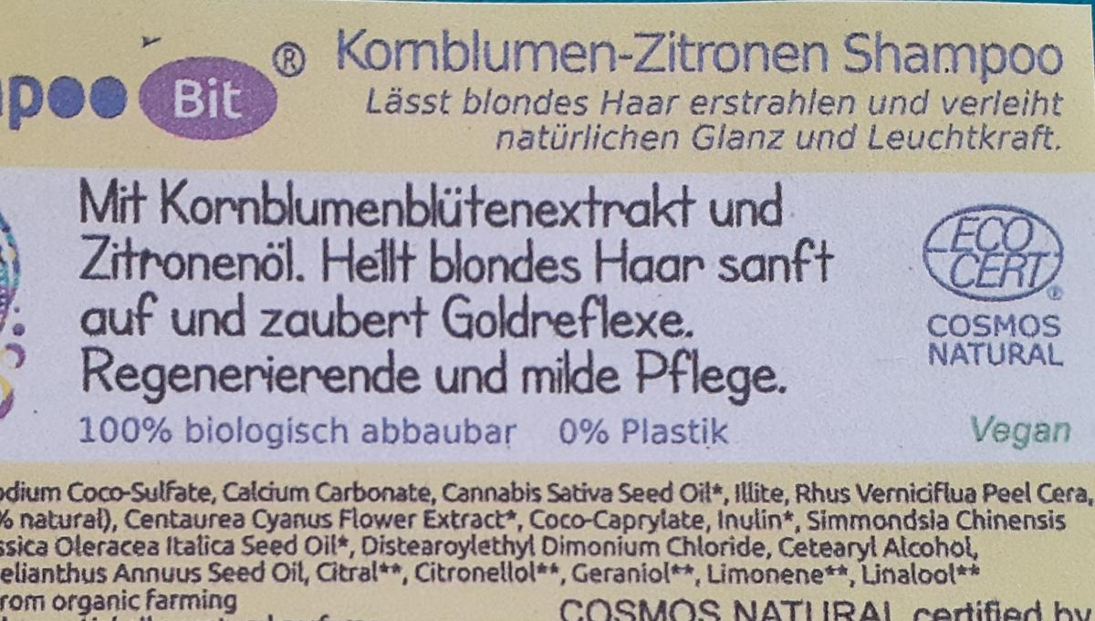 Shampoo Bit von Rosenrot, Kornblume Zitrone