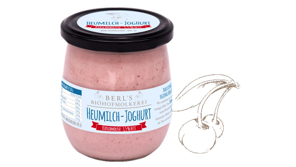 Heumilch Joghurt Kirschmousse