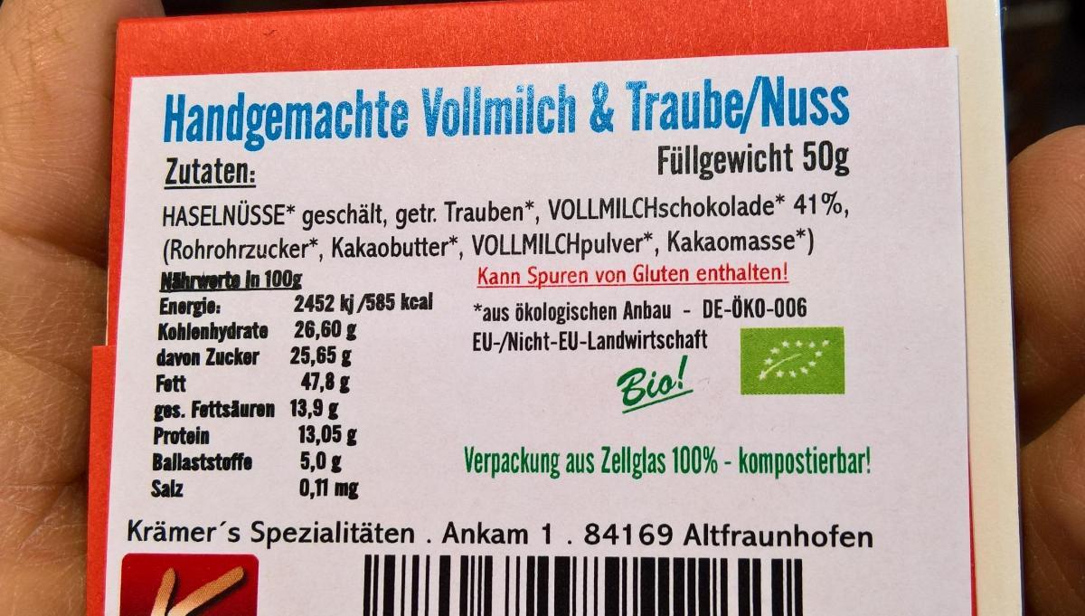 Vollmilch Traube Nuss Schokolade 50g Krämer
