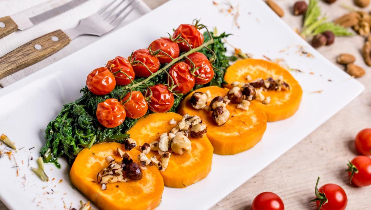 Süßkartoffel mit Wildspinat