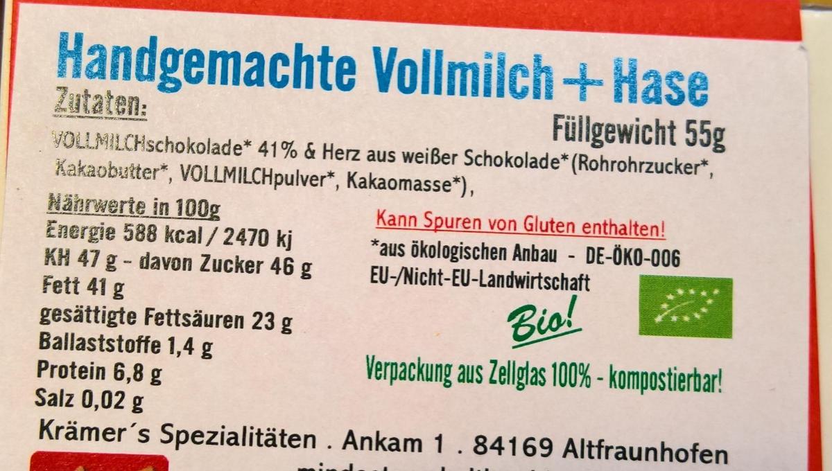 Vollmilchschokolade mit Hase 50g Krämer
