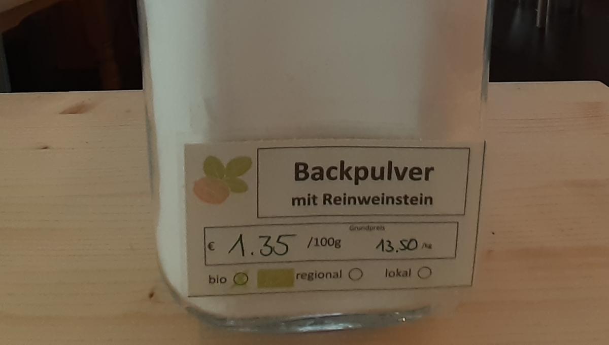 Backpulver mit Reinweinstein